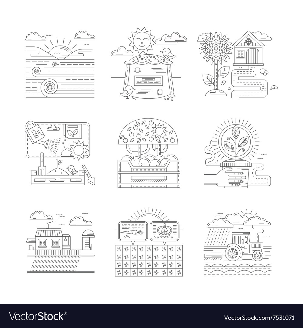 Agricultural farm icons set flat line style