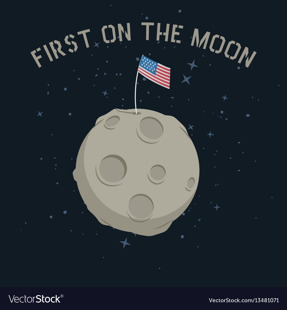 American flag stands on on the moon vector image