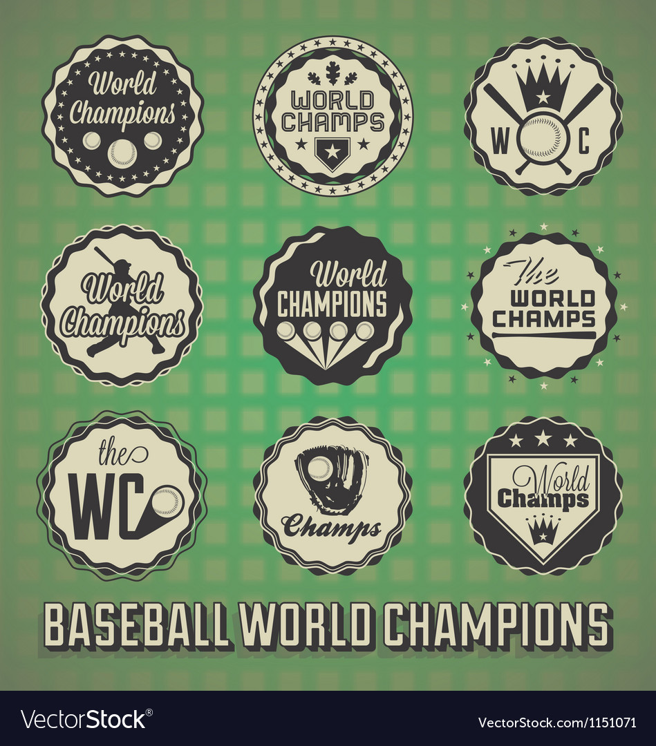 Baseball World Champions Labels and Icons
