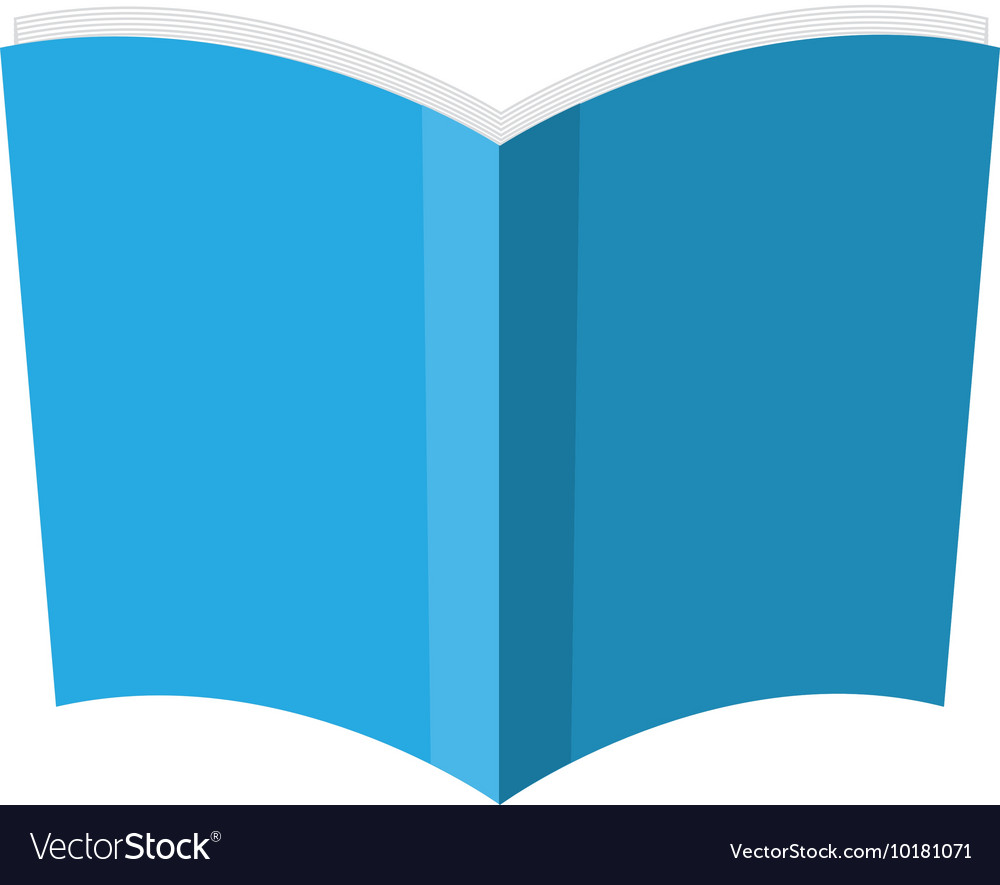 Book blue paper open icon graphic vector image