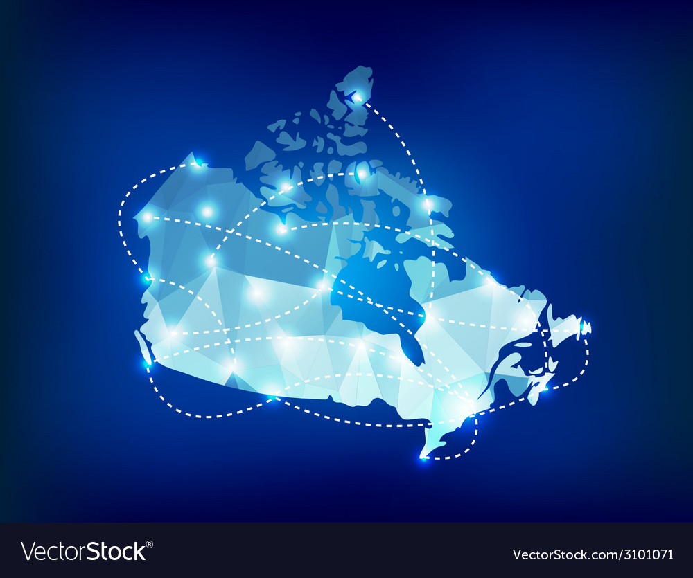 Canada country map polygonal with spot lights