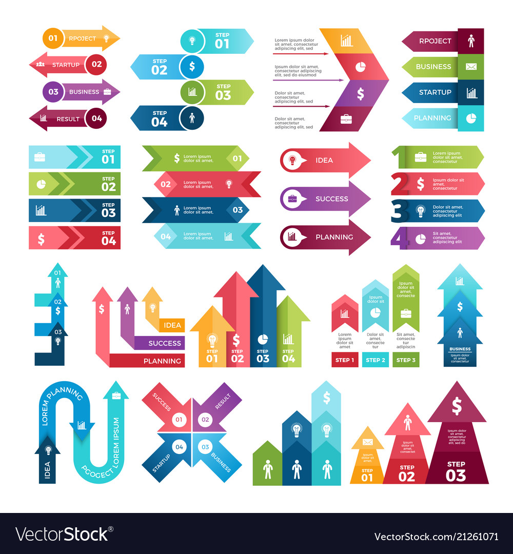 Colored arrows for design projects infographics