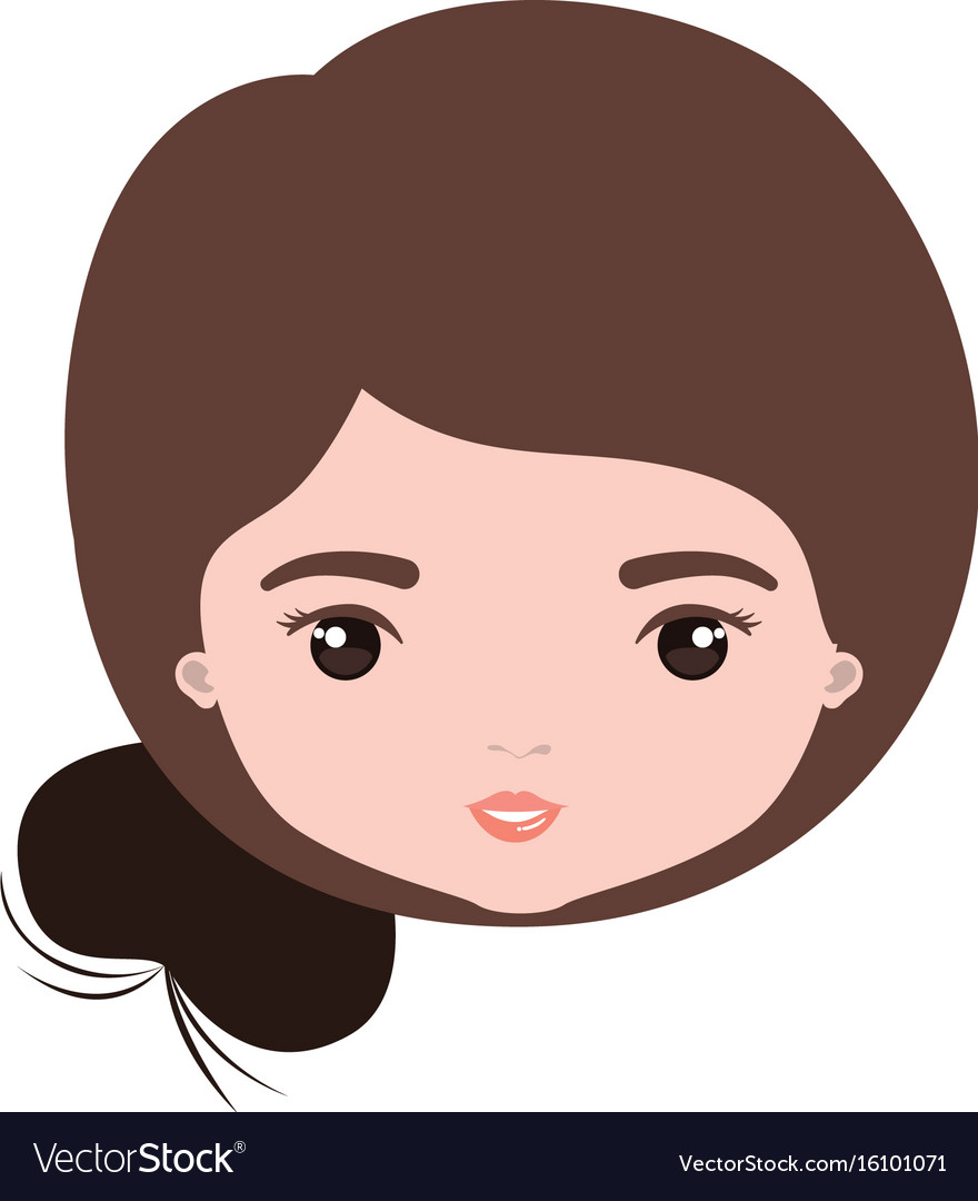 colorful caricature closeup front view face woman vector image