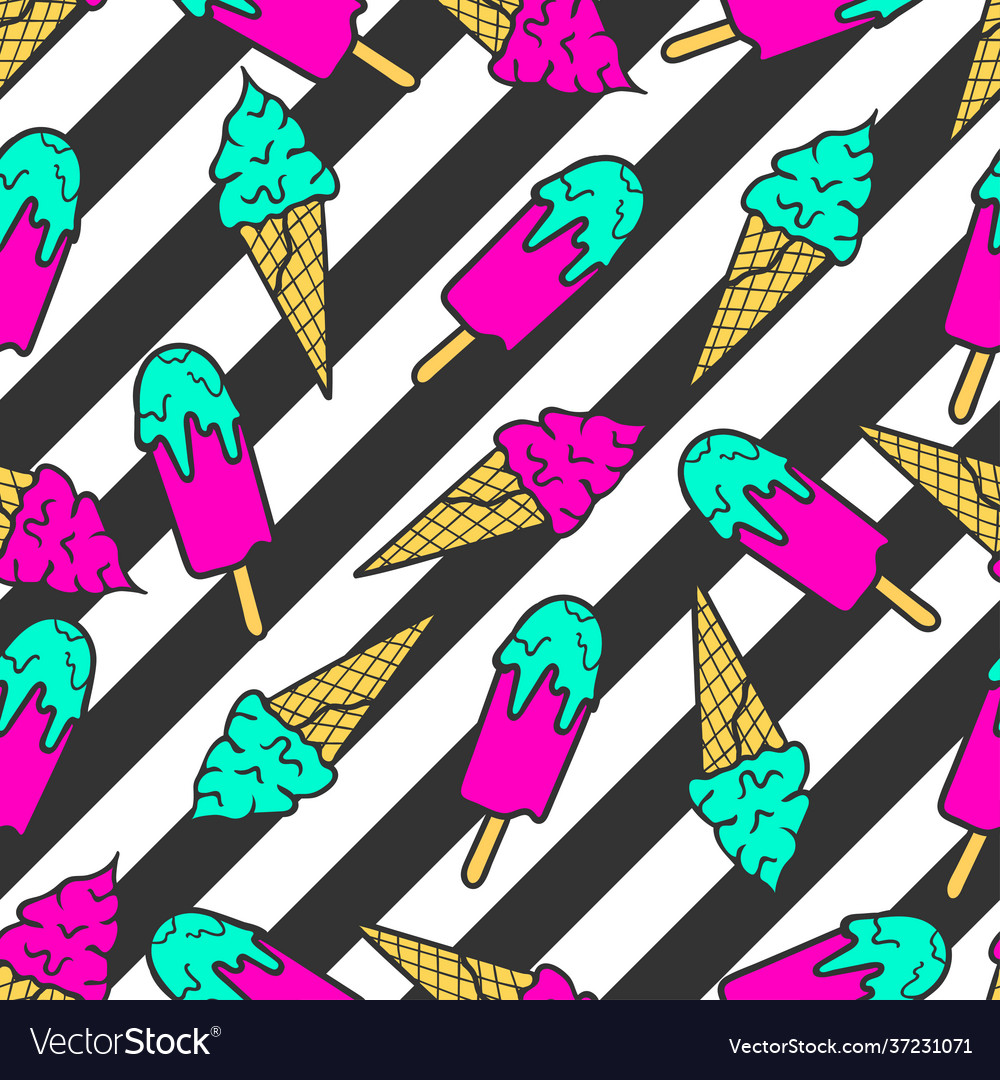 Colorful pattern ice cream on a striped