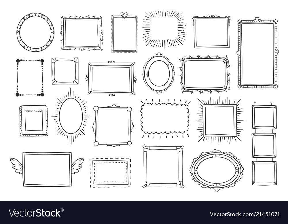 Hand drawn frames vintage doodle sketch picture