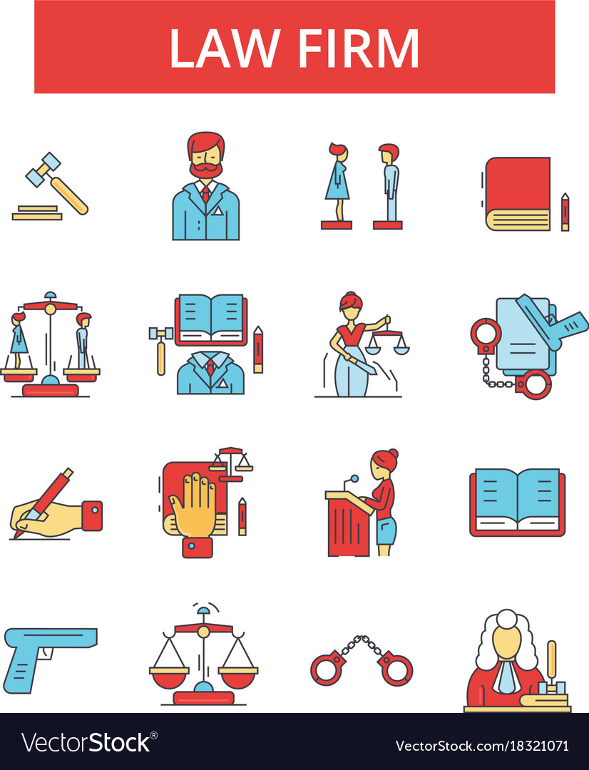 Law firm thin line icons linear