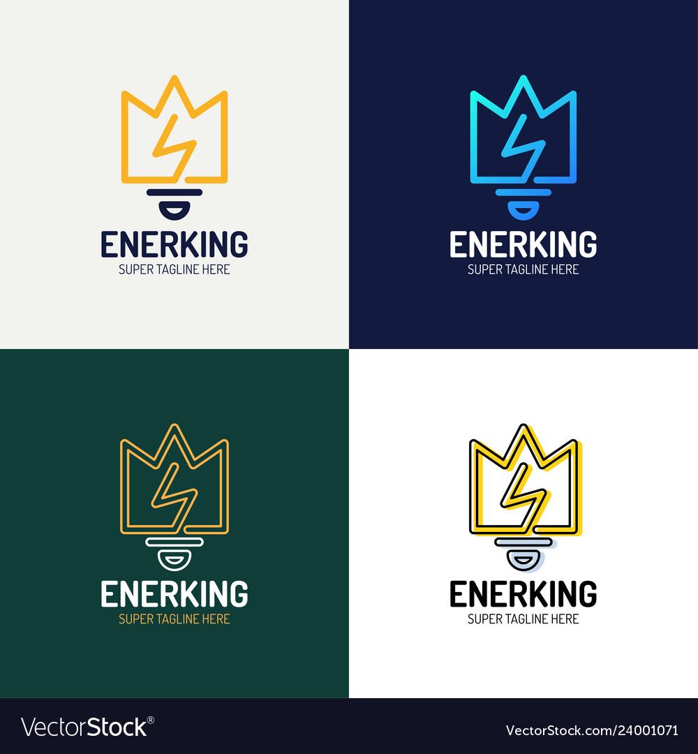 Line art crown and bulb royal logo design