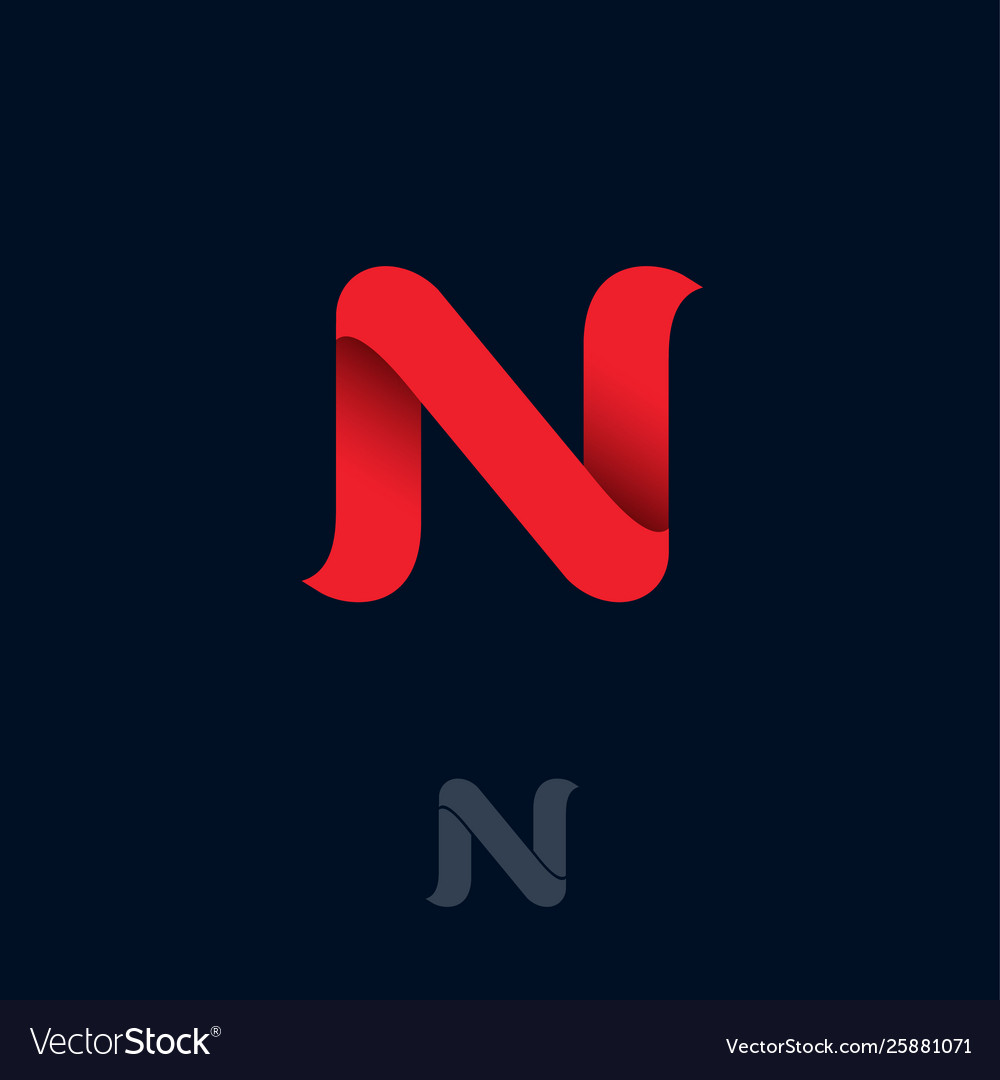 N logo red ribbon origami monogram ui web