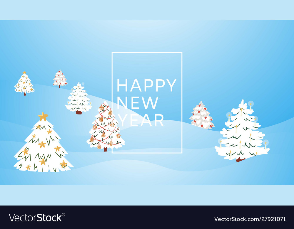 New year and christmas winter forest cartoon