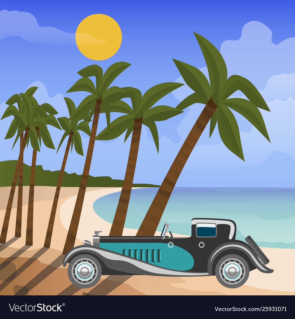 Retro car cabriolet on tropical beach with palm