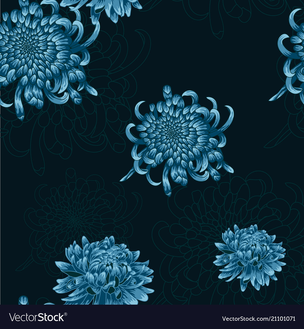 Seamless floral pattern with blue chrysanthemums