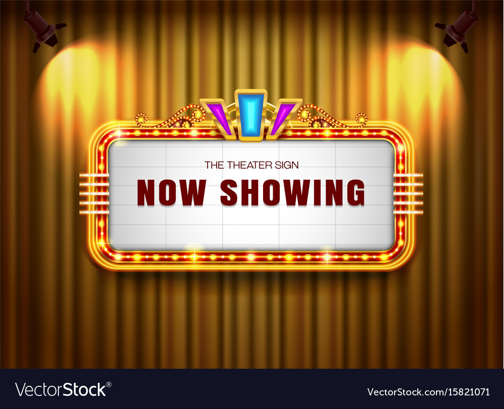 Theater sign retro on curtain with spotlight vector image