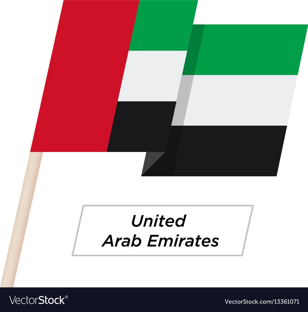 United arab emirates ribbon waving flag isolated