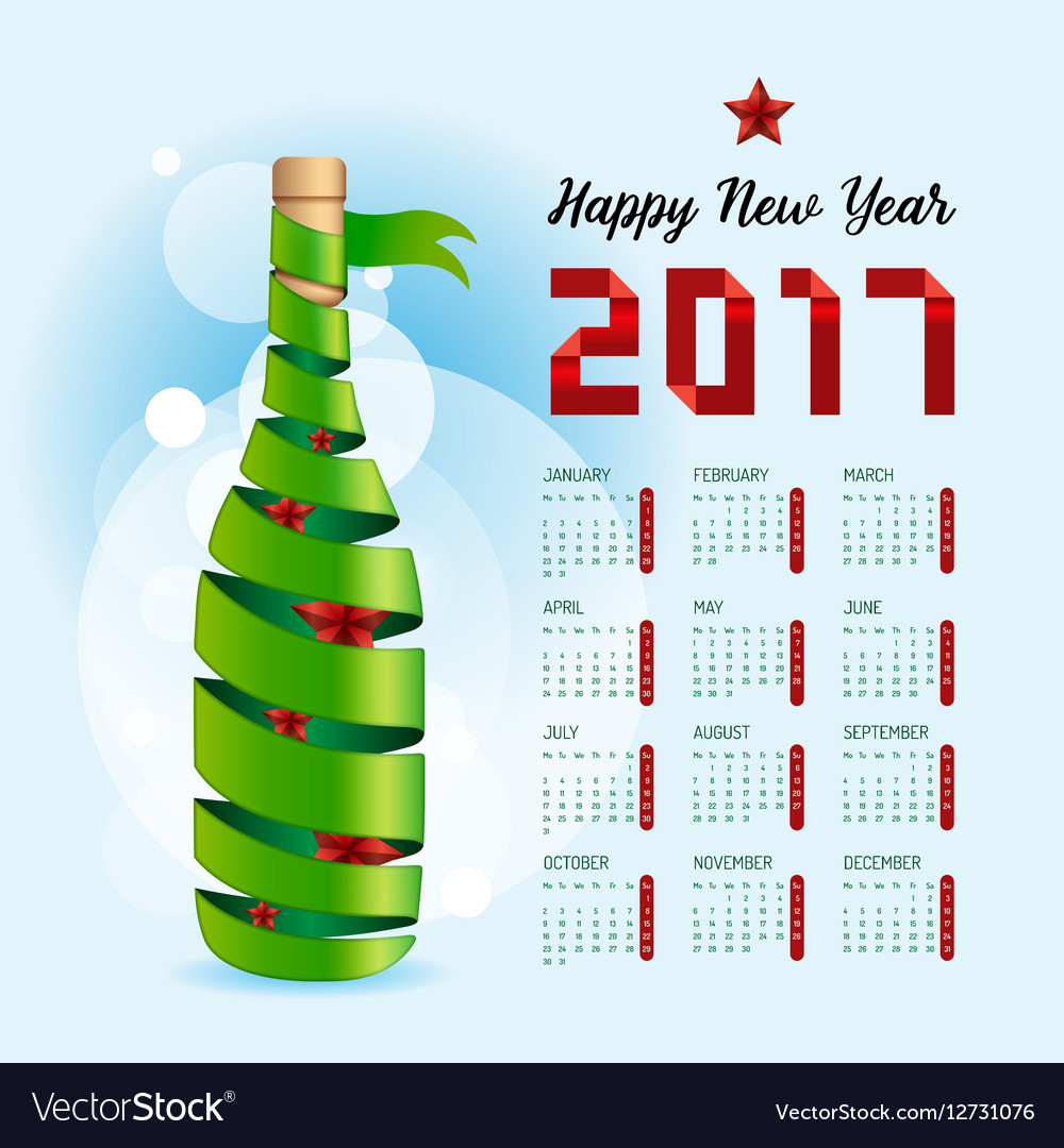 2017 Calendar happy new year design Abstract