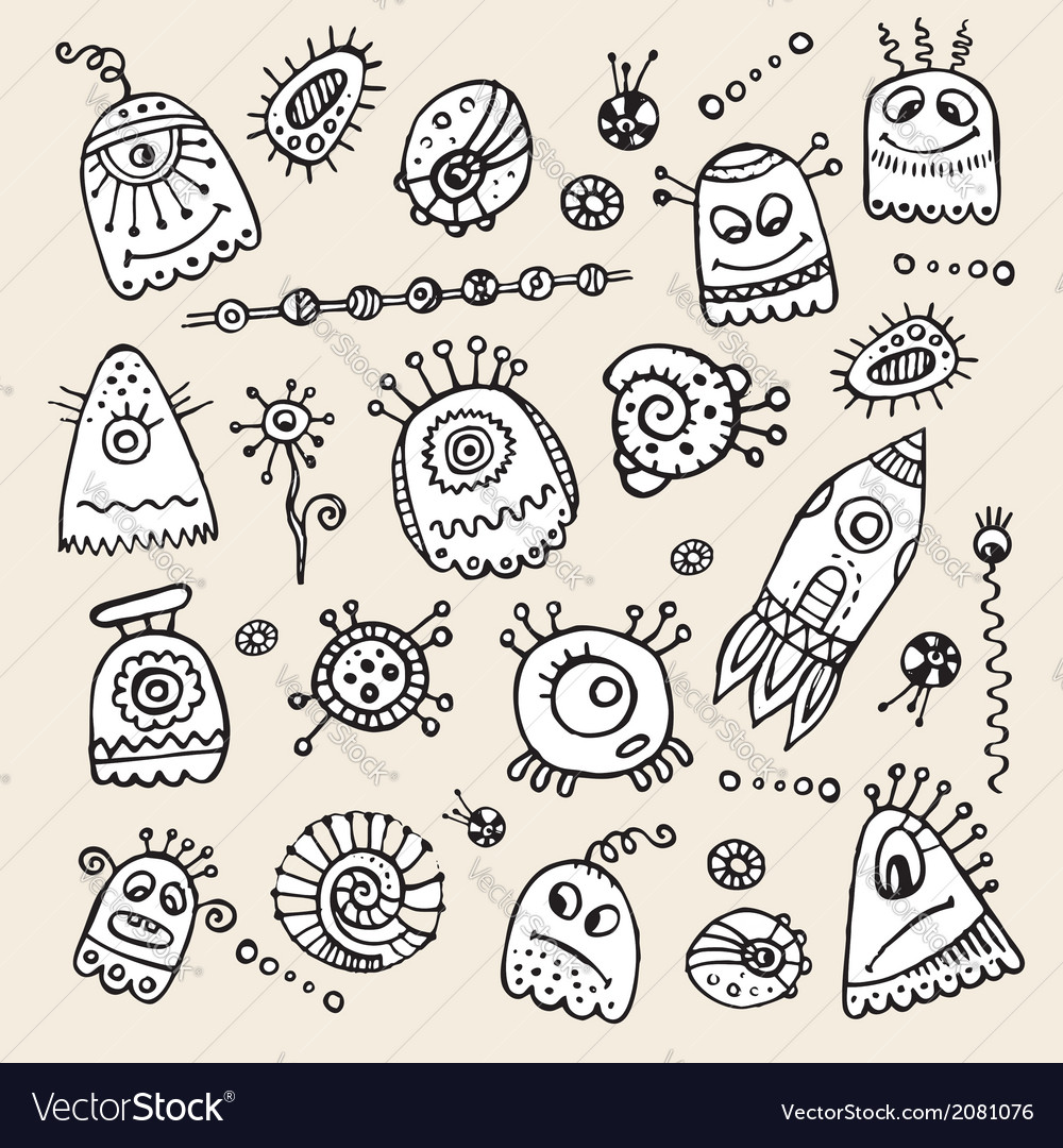 Aliens and monsters hand drawn set vector image