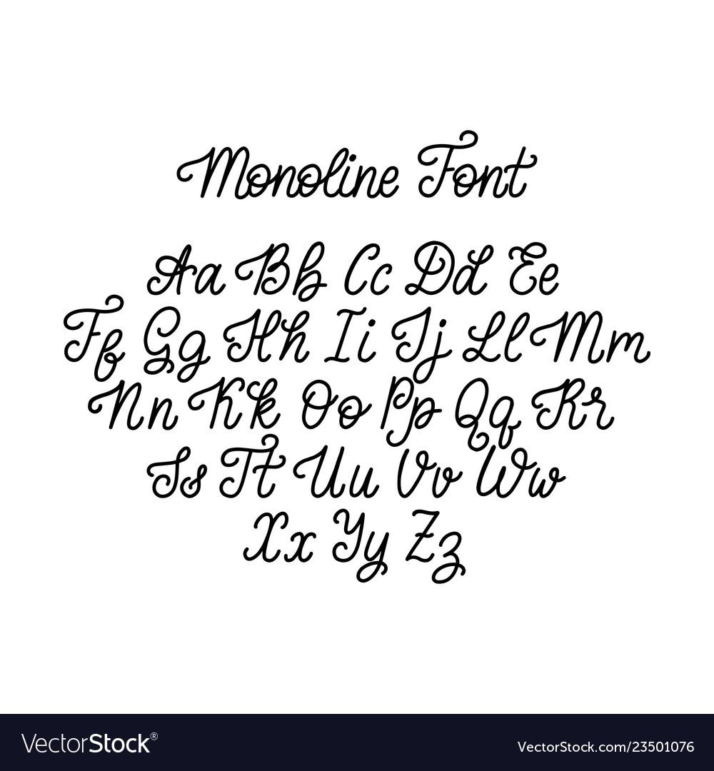 Calligraphy monoline font on white background
