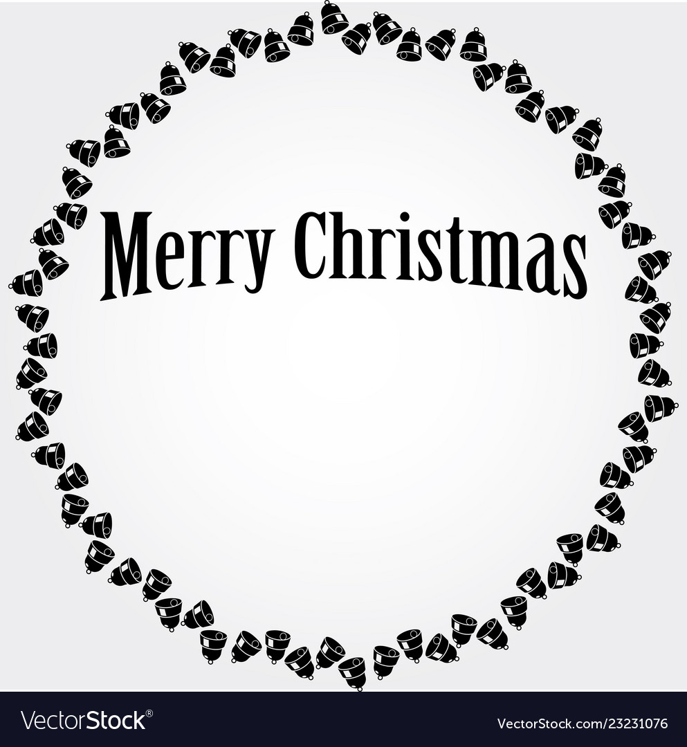 Christmas circular frame with black bells