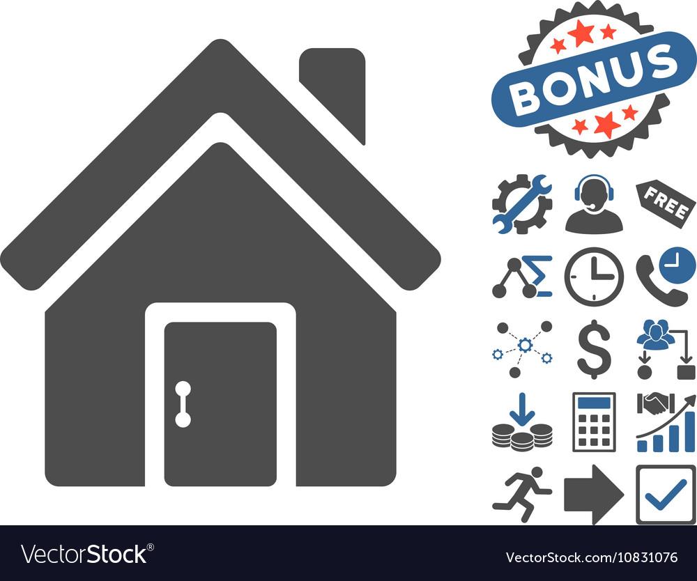 Closed House Door Flat Icon With Bonus vector image on VectorStock