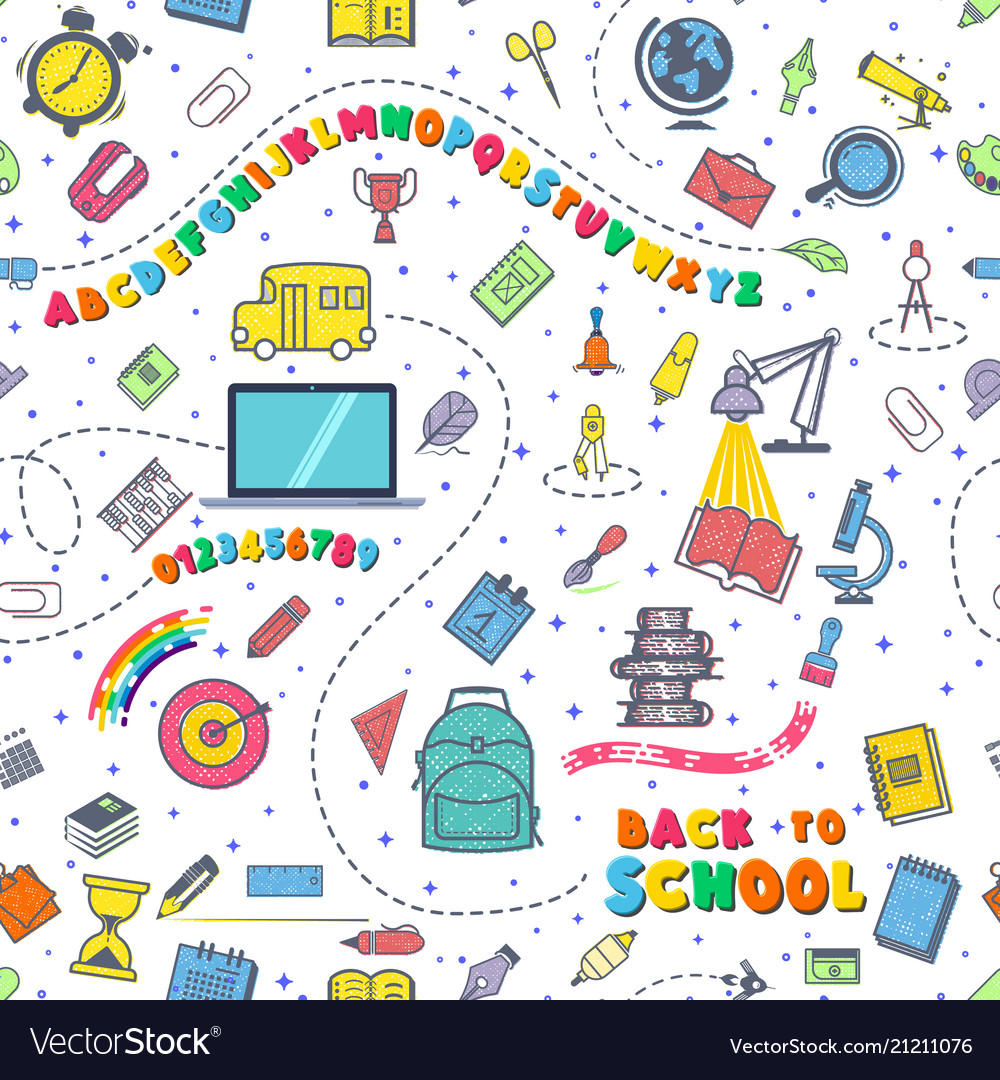 Concept of education seamless pattern school
