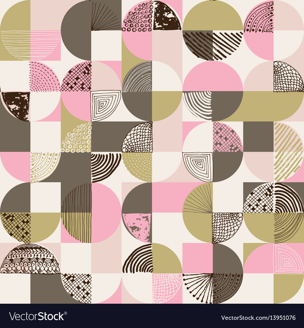 Creative geometric and handdrawn seamless pattern
