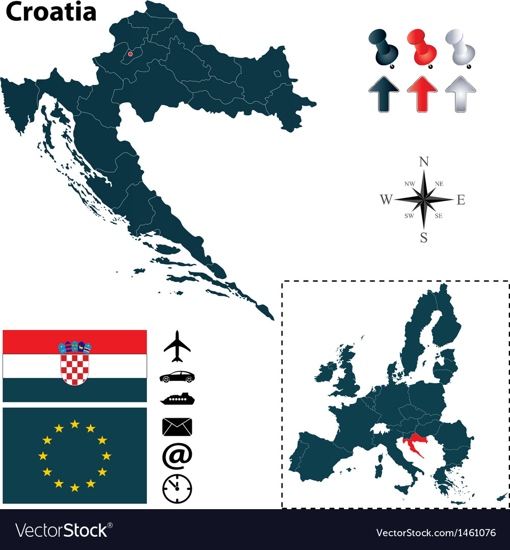 Croatia And European Union Map Royalty Free Vector Image