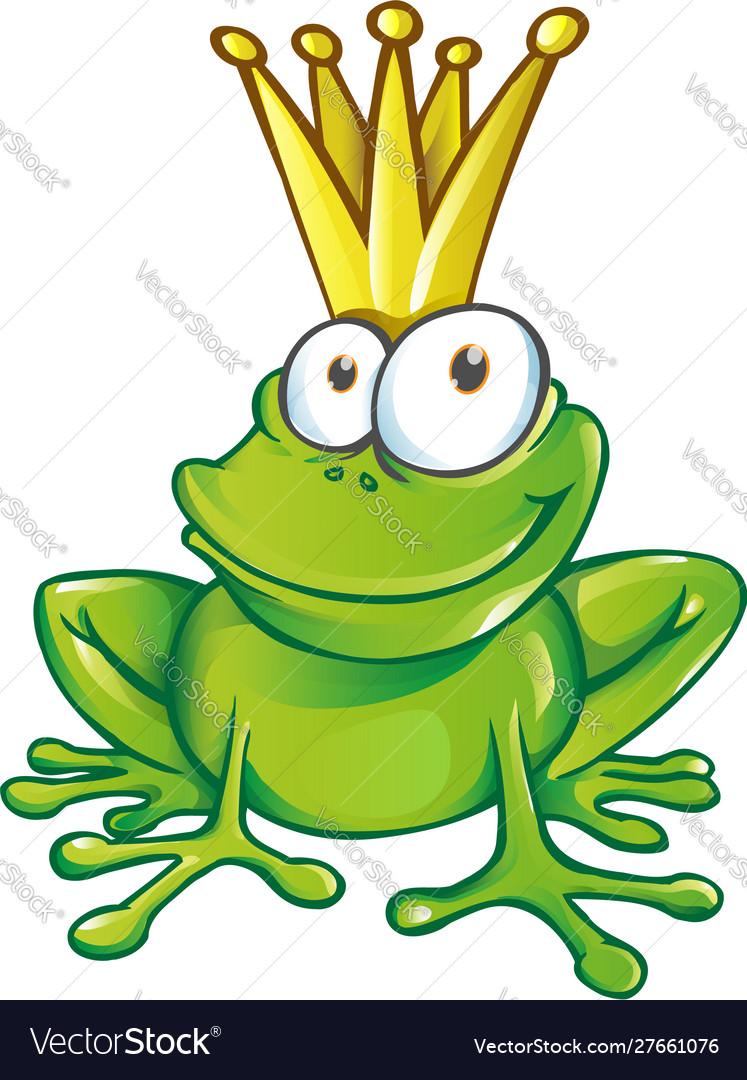 Cute frog prince cartoon character mascot