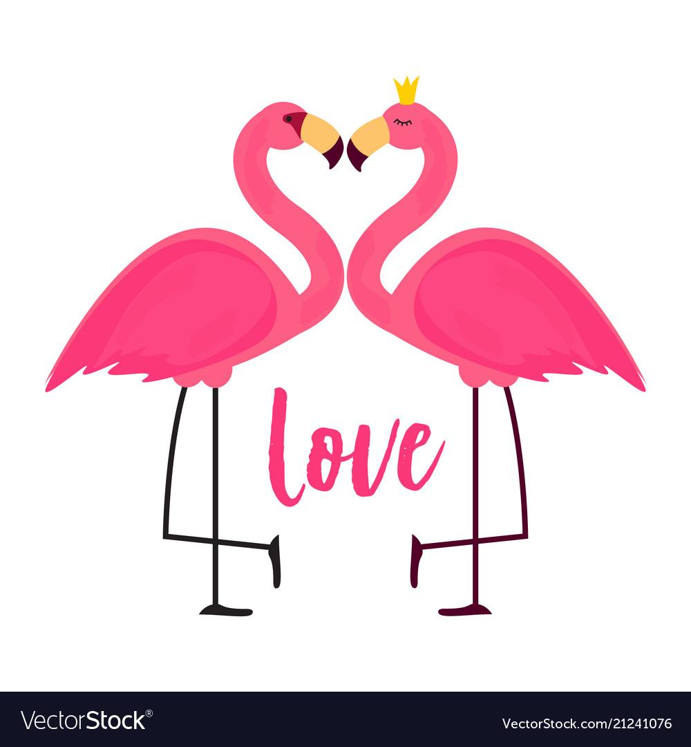 Cute pink flamingo in love background