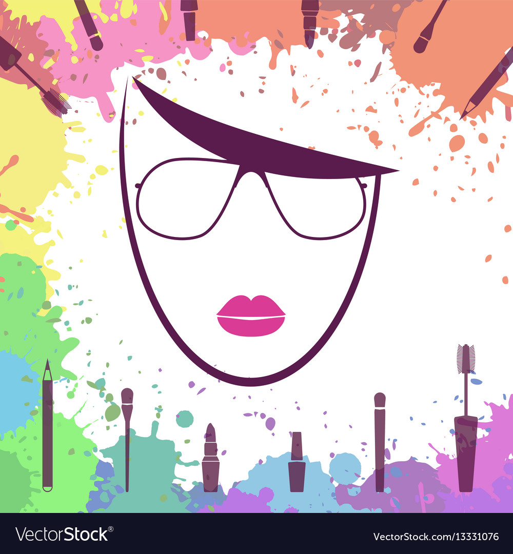Face of beautiful girl fashion icon makeup