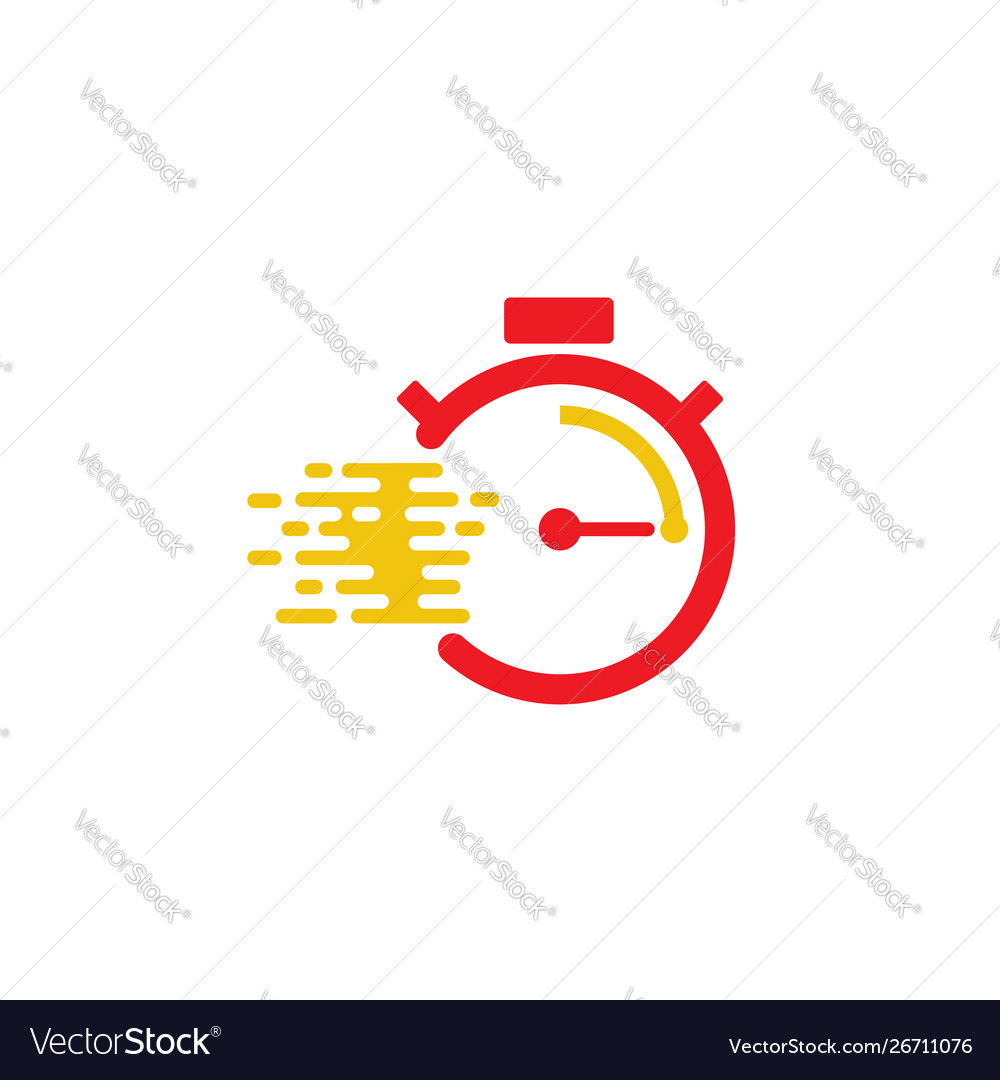 Fast time delivery icon stopwatch in motion