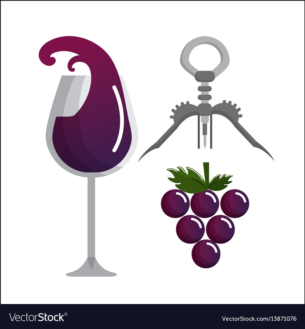 Glass splashing wine grape and take out cork