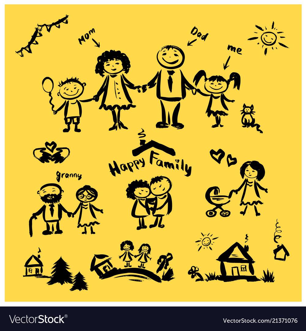 Hand Drawing Cartoon Character Happy Family Vector Image