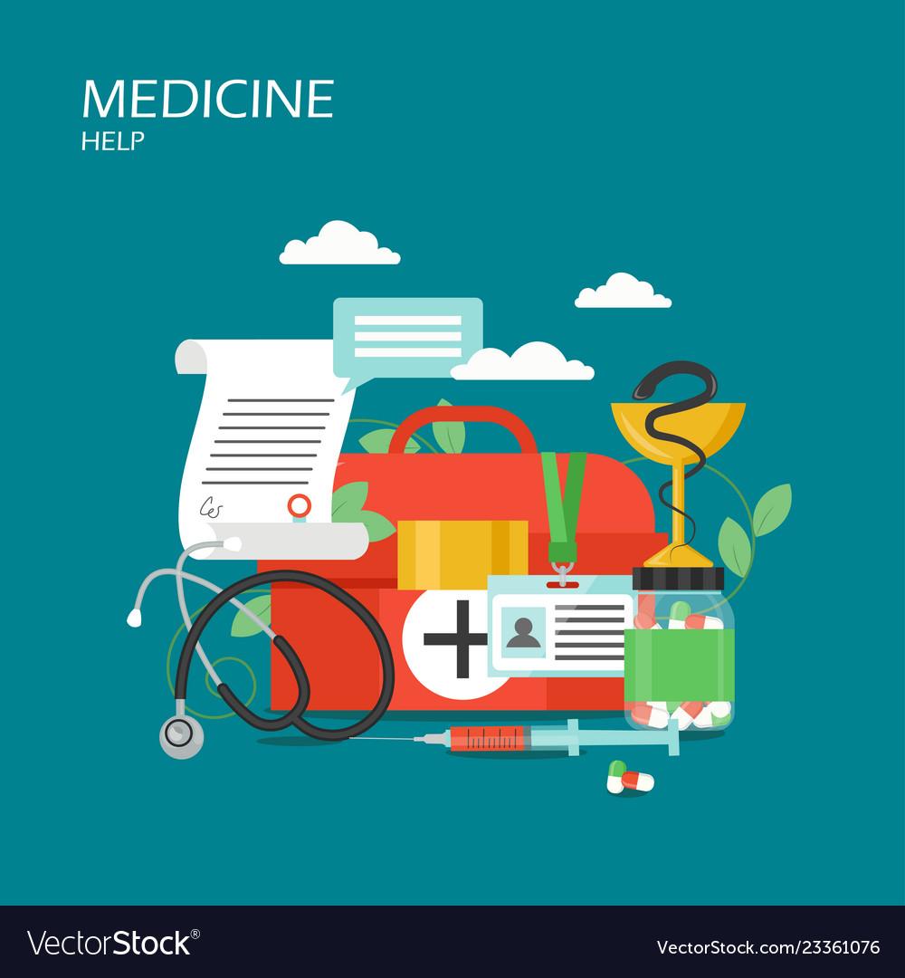 Medicine help concept flat style design