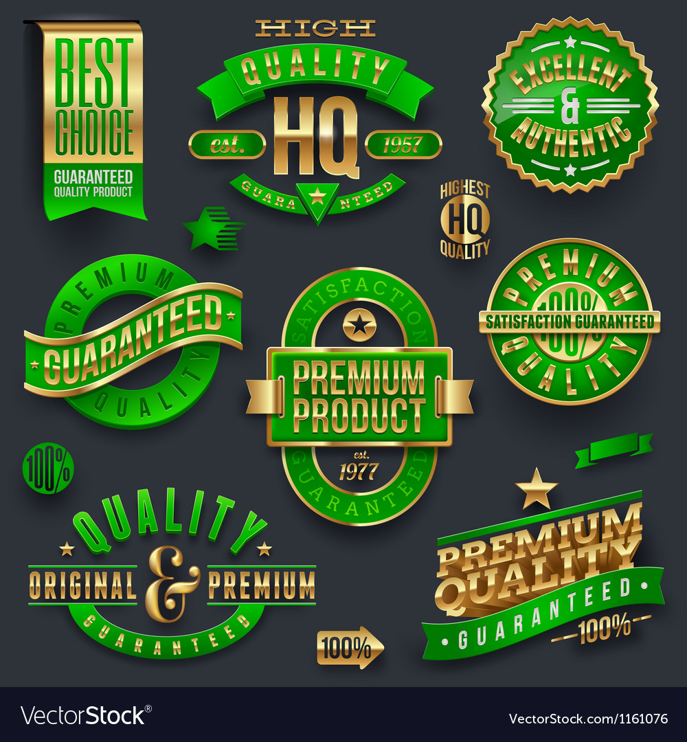Quality and guaranteed - signs emblems and labels vector image
