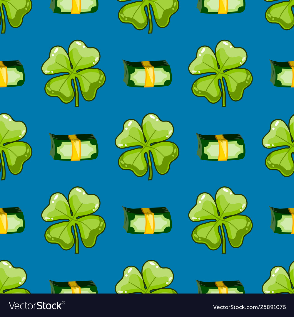 Seamless pattern with clover and money