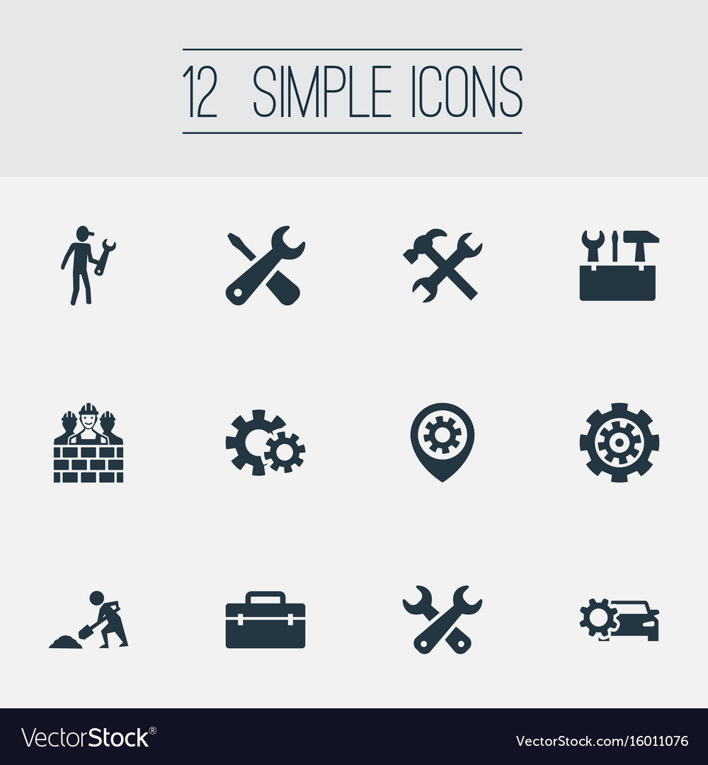 Set of simple repairing icons elements toolkit