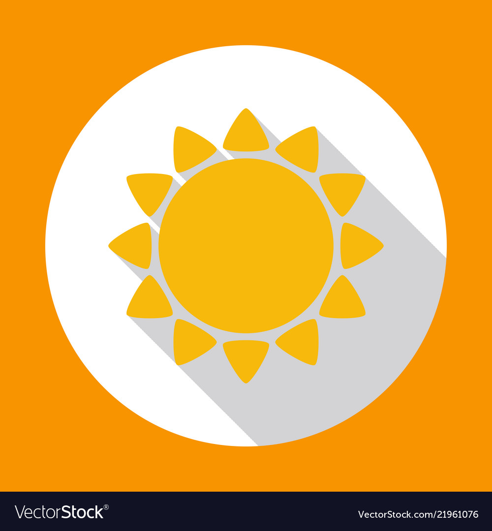 Sun flat icon yellow color with long shadow on