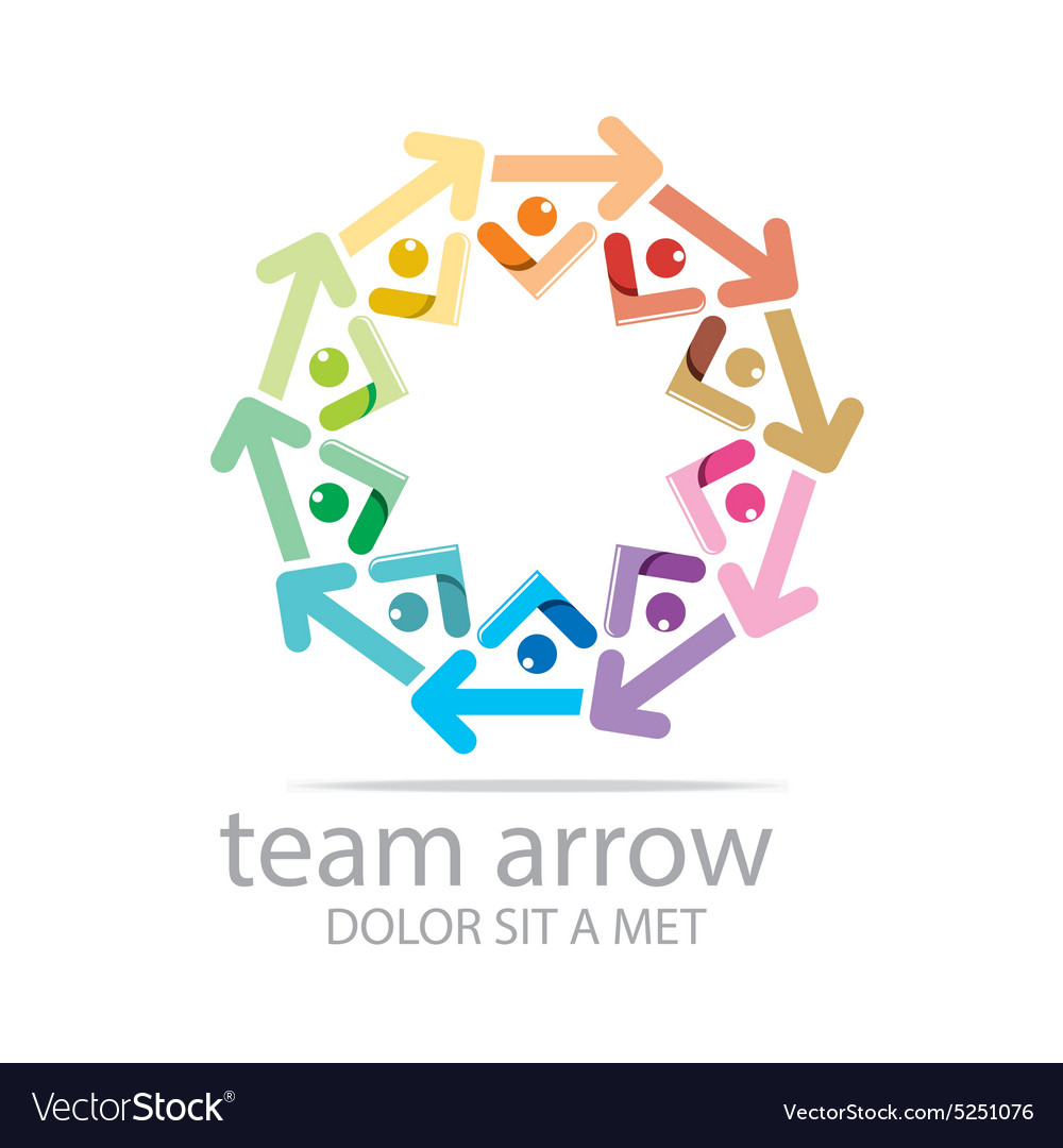 Team Arrow Circle Colorful Symbol Royalty Free Vector Image