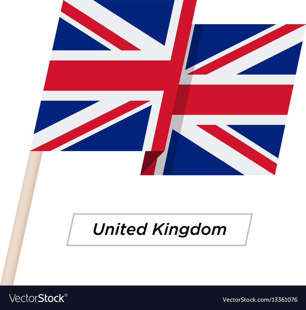 United kingdom ribbon waving flag isolated on