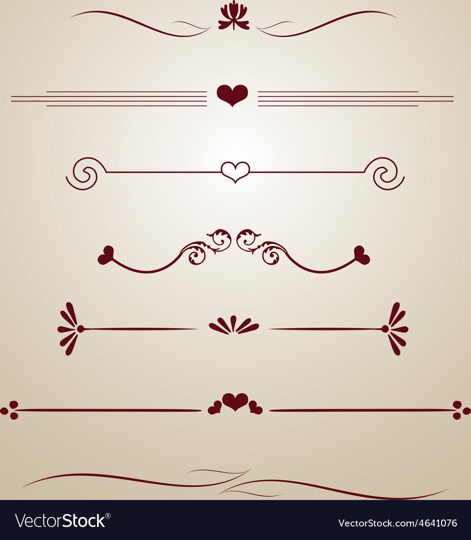 Vintage borders frames dividers heart floral card