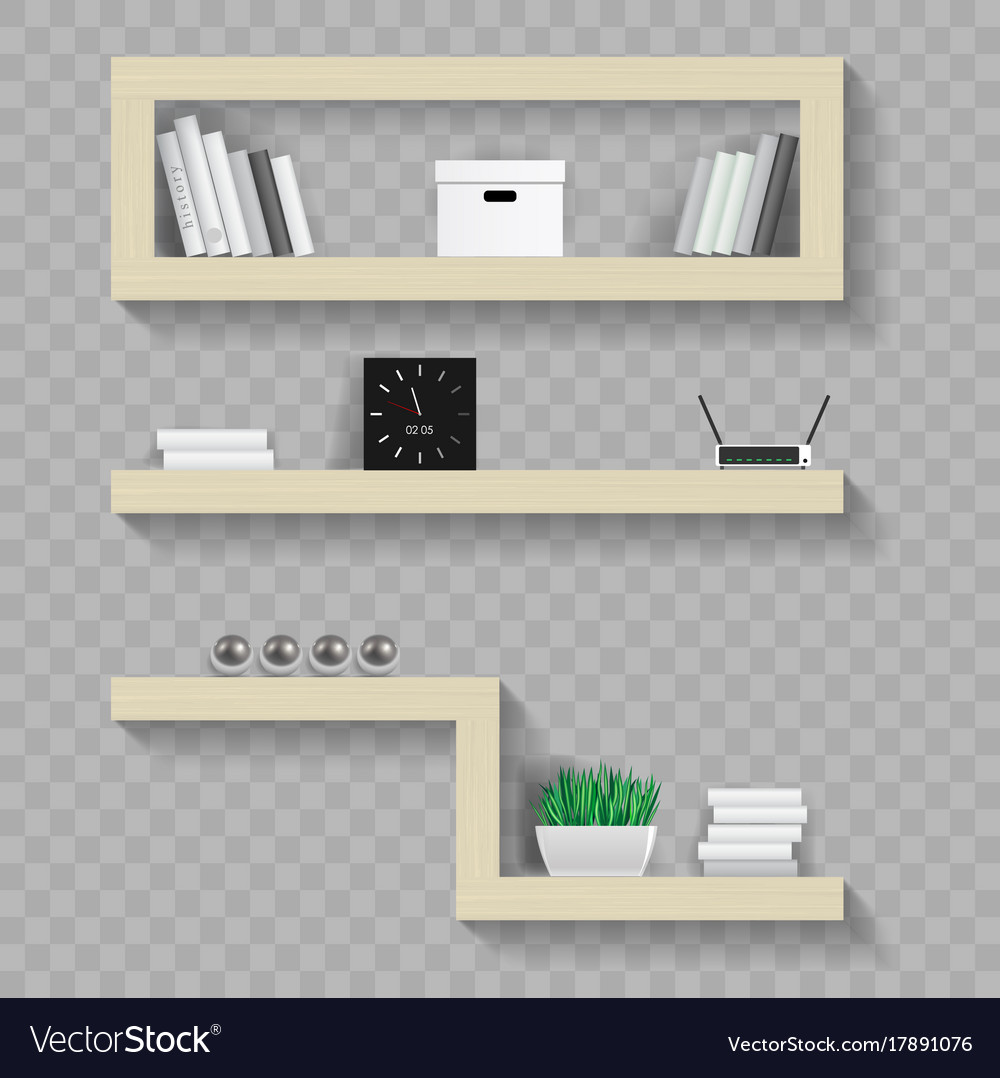 Wooden Shelves For Living Royalty Free Vector Image