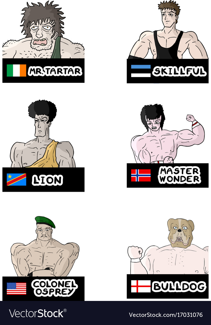 Wrestling characters vector image