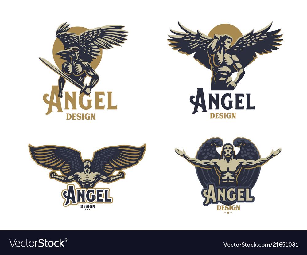 Angel man set of emblems