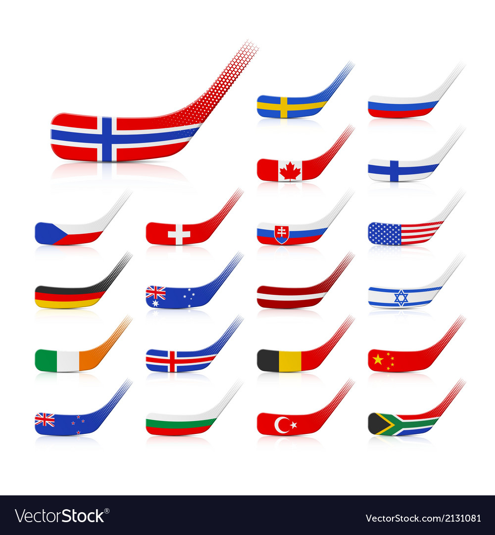 ice hockey sticks with flags royalty free vector image