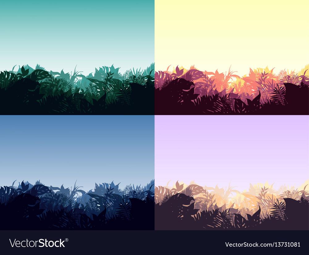 Light jungle landscapes collection vector image