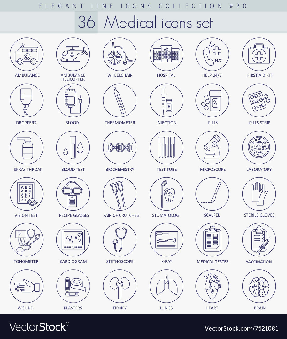 Medical outline icon set Elegant thin line