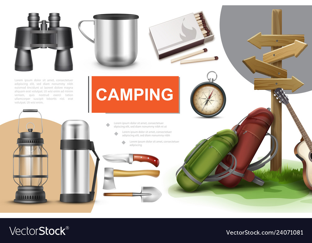 Realistic camping elements composition