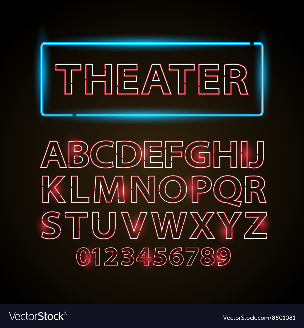 Red neon lamp letters font show cinema or