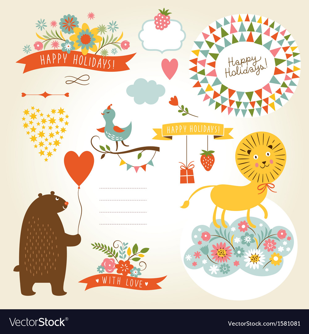 Set of holiday graphic elements and cute animals vector image
