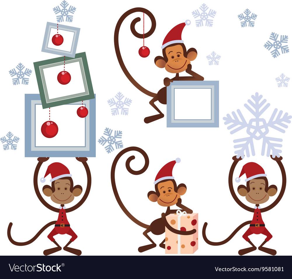Set of Merry Christmas monkey vector image