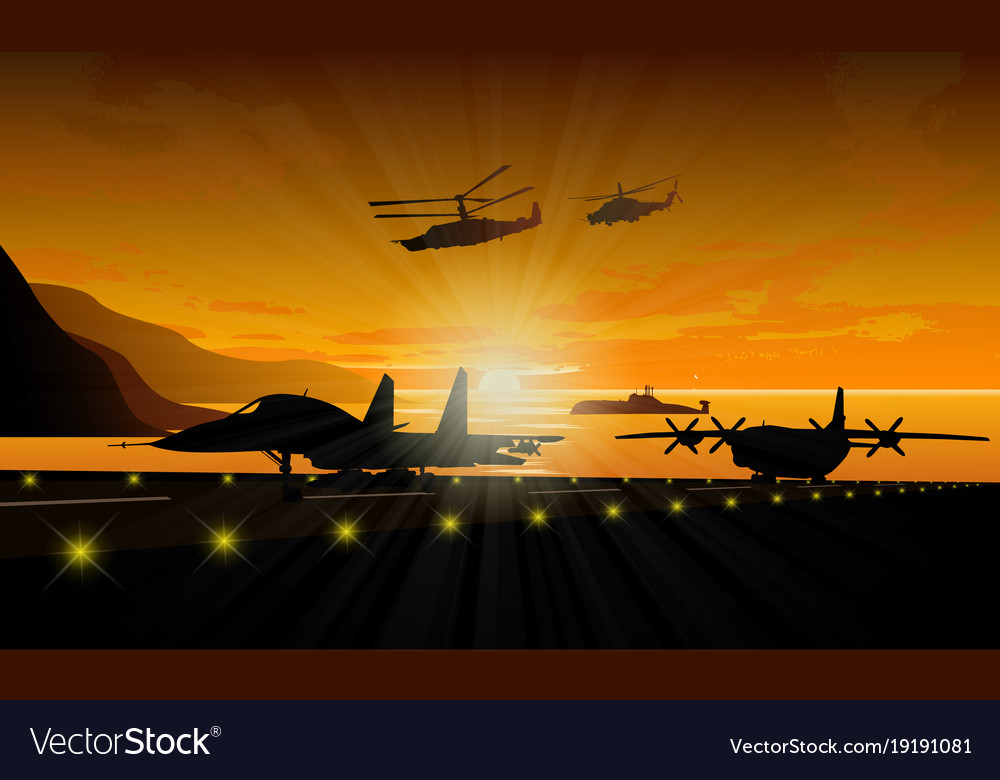 Silhouettes of military equipment